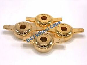 Zenith Cut Gold Knock off Spinners For Lowrider Wire Wheels