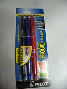 Pilot Frixion Clicker Erasable Gel Pens Fine Point 0 7mm Black Red Blue 31467