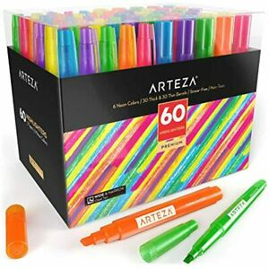 Arteza Highlighters Set Of 60 Bulk Pack Colored Markers Wide And Narrow Chisel