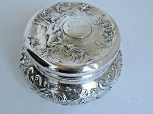 Antique Large Mauser Art Nouveau Victorian Sterling Dresser Vanity Box