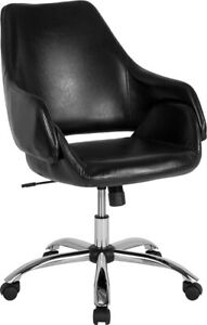Madrid Home And Office Upholstered Mid back Chair In Black Leathersoft