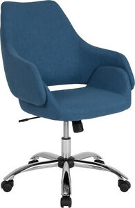 Contemporary Madrid Home And Office Upholstered Mid back Chair In Blue Fabric