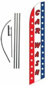 Car Wash Advertising Feather Banner Swooper Flag Sign With 15 Foot Flag Pole