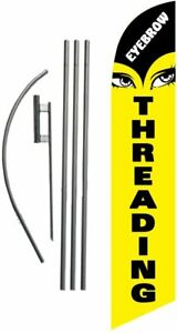 Eyebrow Threading Advertising Feather Banner Swooper Flag Sign With Flag Pole