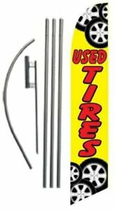 Used Tires Business Advertising Feather Banner Swooper Flag Sign With Flag