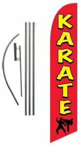 Karate Advertising Feather Banner Swooper Flag Sign With Flag Pole Kit And