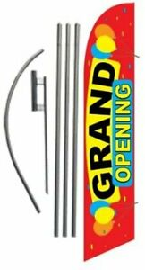 Grand Opening Advertising Feather Banner Swooper Flag Sign With Flag Pole Kit