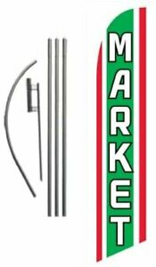 Market Advertising Feather Banner Swooper Flag Sign With Flag Pole Kit And