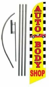 Auto Body Shop 15ft Feather Banner Swooper Flag Kit Includes 15ft Pole Kit