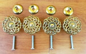 4 Vintage New Old Stock Square Solid Brass Cabinet Drawer Pulls Knobs 1 1 2