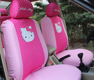 6pc Hello Kitty Pink Universal Interior Car Seat Cover Set