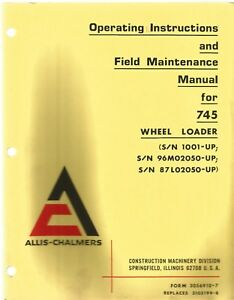 Allis chalmers 745 Wheel Loader Operator s Manual