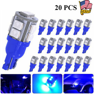 20 Ultra Blue T10 10 Smd Led Car Side Wedge Light Lamp Bulbs W5w 168 194 T15