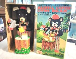 Rare Old Vintage Battery Operated Maxwell Coffee Bear W/Box 1950's Working
