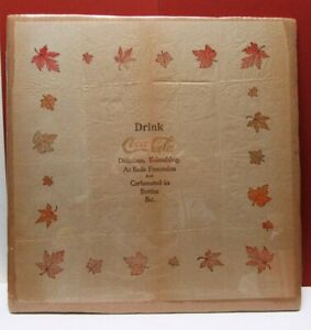 UNBELIEVABLE! EARLY  1900'S COCA-COLA LEAF BORDER RICE PAPER NAPKINS 14