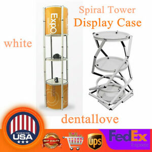 81 Round Portable Aluminum Spiral Tower Display Case With Shelves Top Light