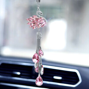 Car Pendant Pink Rhinestone Swan Rear View Mirror Charm Hanging Decor Accessorie