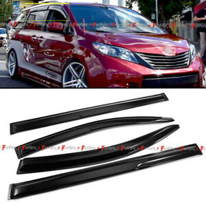 Fit 11 19 Toyota Sienna Jdm Style Black Tinted Trim Window Visor Deflector