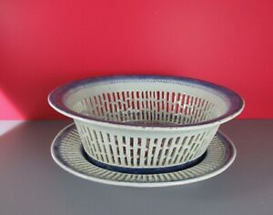 Chinese Export Blue White Nanking Weave Basket Under Plate Fine 19th Century