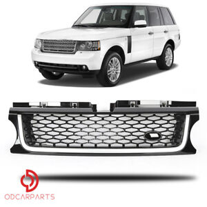 Fits 2010 2013 Land Rover Range Rover Sport Front Grille Black With Silver Trim