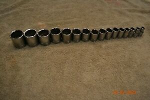 Snap On 16 Pc 1 2 Drive 12 point Sae Flank Drive Shallow Socket Set 117