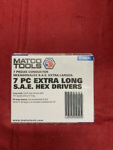New Matco Tools 7 Pc 1 4 Drive Extra Long Hex Drivers Sae S7asxl