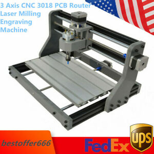 3 Axis Cnc 3018 Pcb Router Laser Milling Engraving Machine Grbl Control 500mw Us