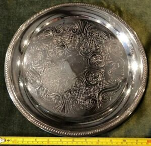 Vintage Fb Rogers Silver Plate 12 5 Round Serving Tray Free Shipping
