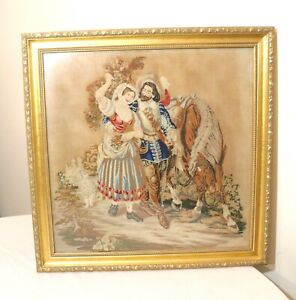 Large Antique 1800 S Victorian Hand Embroidered Figural Horse Needlepoint Art