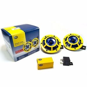 Hella Super Tone Yellow Grill Dual Horn Universal With Original Hella Relay