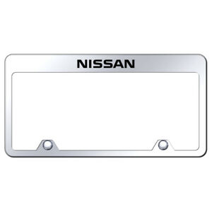 Name Laser Etched On Chrome Stainless Inverted License Plate Frame For Nissan