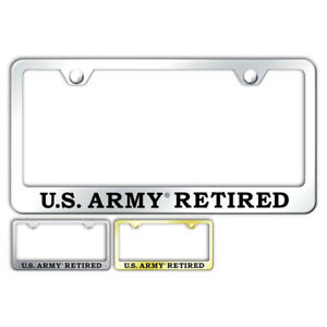 U s Army Retired Name Stainless Steel Wide Bottom License Plate Frame