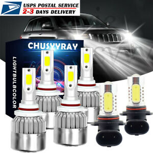 6x Led Headlight Bulbs Hi Low Beam Fog Lights For Jeep Grand Cherokee 1999 2004