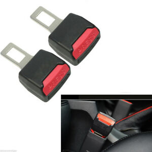 2 Pcs Car Safety Seat Belt Buckle Clips Extender Alarm Stopper Universal Black