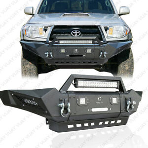 Vijay New Front Bumper With Winch Plate led Lights d rings For 2005 2015 Tacoma