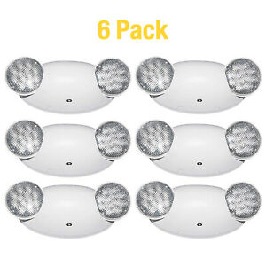 6 X Led Emergency Exit Light Dual Head Wall And Ceiling Emergency Sign Lamp Ul