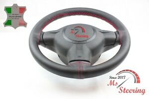 For Volvo Vhd Dump Truck 00 07 Black Leather Steering Wheel Cover Pink 2 Stit