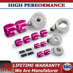 Stainless Steel Braided Engine Vacuum Heater Fuel Line Hose Sleeve Clamps Kit Rd