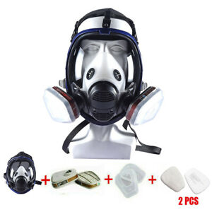 Full Face Gas Mask 7 In 1 Facepiece Respirator Painting Spraying 6800 Mask