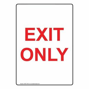 Compliancesigns Vertical Glow in the dark Aluminum Exit Only Sign 14 X 10