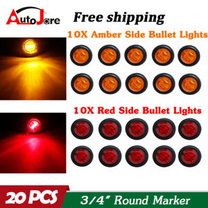 20x 3 4 12v Marker Lights Led Truck Trailer Round Side Bullet Light Amber Red