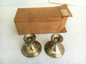 Vintage Berkeley International Sterling Silver Pair Of Candlesticks Set With Box