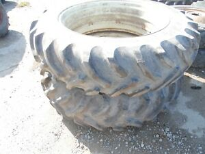 Oliver 1550 Diesel Tractor Rear Tires Rims 15 5x38 no Fluid In Them nice