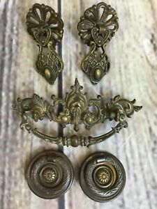 Vintage Brass Ornate Victorian Furniture Drawer Handle Drop Ring Pulls Lot Of 5