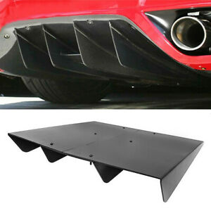 Universal Rear Diffuser Lower Splitter Fins Underbody Assembly Black Abs