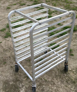 Winco Aluminum Full Size Bun Sheet Pan Rack 10 Shelf Restaurant Bakery Cart Tier