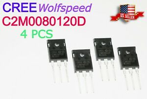 4 Pcs New Cree C2m0080120d Silicon Carbide Mosfet 80 Mohm 1200 V sic Fet