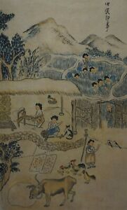 Fine Korean Minhwa Folk Hand Painting Country Village Scene