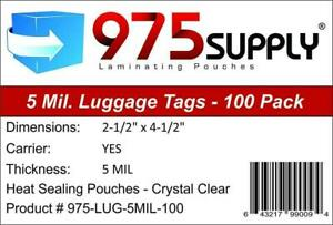 975 Supply Luggage Tag 5 Mil Laminating Pouches With Loops 2 5 X 4 25 5