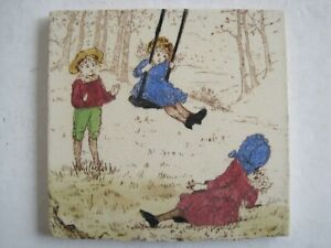 Antique Victorian T R Boote Rosebud Series Tile Children With Swing